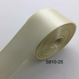 S810-25: Ivory: Double Faced Satin Ribbon 25mm, 5Meter