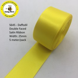 S645-25: Daffodil: Double Faced Satin Ribbon 25mm, 5Meter/pack
