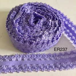 ER237: PURPLE: 22mm Lace Elastic Ribbon 5meter
