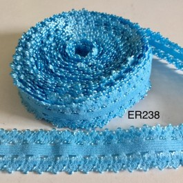 ER238: BLUE: 22mm Lace Elastic Ribbon 5meter