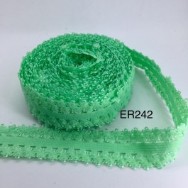 ER242: GREEN: 22mm Lace Elastic Ribbon 5meter