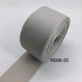 R006-25: LT GREY: Grosgrain Ribbon 25mm, 5Meter