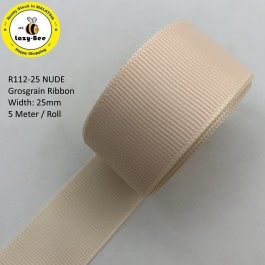 R112-25: NUDE: Grosgrain Ribbon 25mm, 5Meter