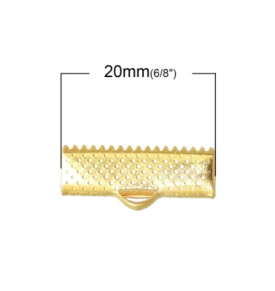 B68504: End Crimp Gold Plated 20x8mm, 100 pieces [ B16 ]