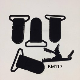 KM112: Black: Baby Pacifier Clip 30mm, 5 pieces/pack