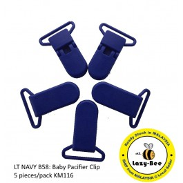 KM116: Lt Navy: Baby Pacifier Clip 30mm, 5 pieces/pack
