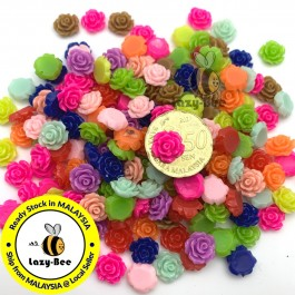 SA477: 50 pieces 10mm Rose Resin Flower Opaque Resin Cabochons DIY Jewelry Making Hair Accessory Brooch [ A11 ]
