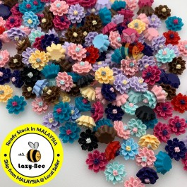 SA476: 50 pieces 12mm Resin Flower Cabochons DIY Crafting Jewelry Making Brooch Ear Ring Craft [ A1 ]