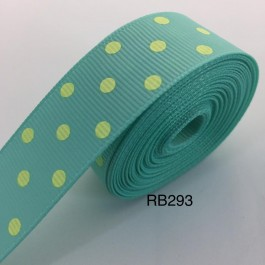 RB293: Aqua with Yellow Dot Grosgrain Ribbon 22mm, 5Meter
