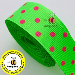 RB294: Acid Green with Fuchsia Dot Grosgrain Ribbon 22mm, 5Meter