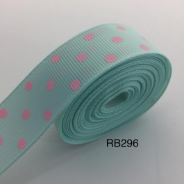 RB296: Crystalline with Pink Dot Grosgrain Ribbon 22mm, 5Meter