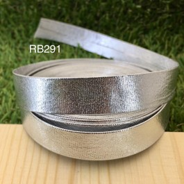 RB291: Silver PU leather 15mm, 5Meter