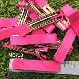 MC733: Shocking Pink Prong Barrettes Hair Clips 50mm, 10 pieces [ C12 ]