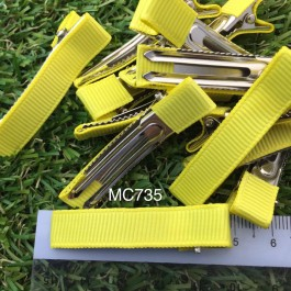 MC735: Yellow Prong Barrettes Hair Clips 50mm, 10 pieces [ C12 ]