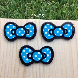SA495: Blue Kitty Bow 37x21mm, 5 pieces/pack [ Z37 ]