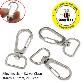 B21504: Alloy Keychain Swivel Clasp 36 x 18mm, 20 Pieces [ A7 ]