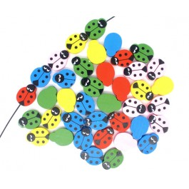 B05727: Mixed Painted Wood Ladybug 19x15mm,100 pieces [ A17 ]