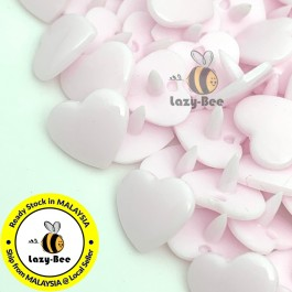 KM117: PALE PINK B21: HEART Shape KAM Glossy Snap Button Plastic Fastener DIY, 50 Sets [ K13 ]