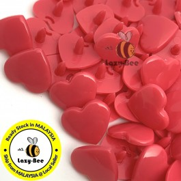 KM118: HOT PINK B33: HEART Shape KAM Glossy Snap Button Plastic Fastener DIY, 50 Sets [ K11 ]