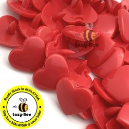 KM119: DEEP RED B38: HEART Shape KAM Glossy Snap Button Plastic Fastener DIY, 50 Sets [ K11 ]