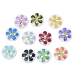 B48818: 100 pcs 15mm Flower Pattern Wood Button DIY Sewing Craft Face Mask extention [B17]