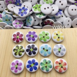 WB041: Flower Wood button 15mm, 50 pieces [ C6 ]