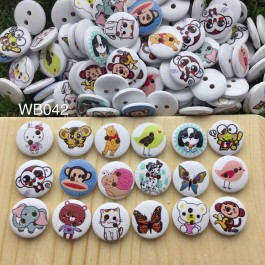 WB042: Animal Mixed Wood button 15mm, 50 pieces/pack [ C6 ]