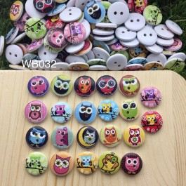 WB032: Owl Mix Wood button 15mm, 50 pieces/pack [ C18 ]