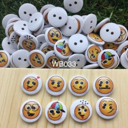 WB033: Emoji Wood Button 15mm, 50 pieces/pack [ C17 ]