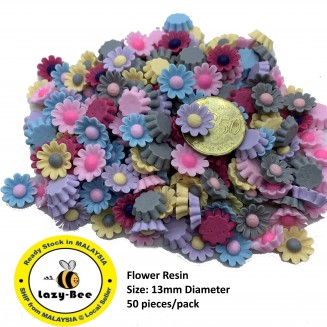 SA522: Flower Resin 13mm, 50 pieces [ A12 ]