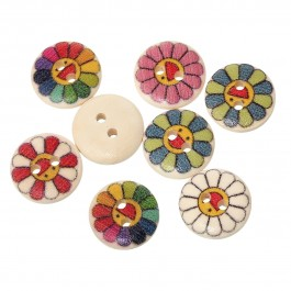 B48804: 100 pcs 15 mm Flower Round Wood Button Wood Sewing Buttons Scrapbooking DIY Sewing Craft Mask Extention [ C18 ]