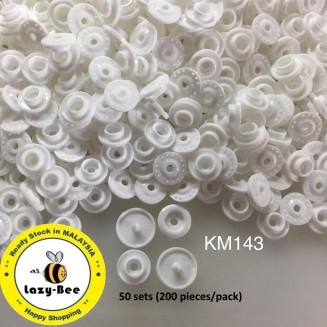 KM143: WHITE B3: T5 KAM Glossy Snap Button Plastic Fastener DIY, 50 Sets