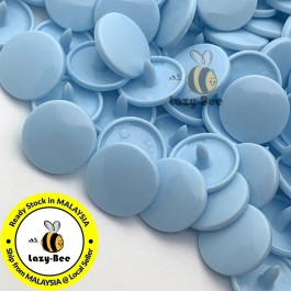 KM127: B20 PASTEL BLUE 50 Sets (200 pcs) T5 12.4mm KAM Snap Button Plastic Fastener DIY Sewing Craft Baby cloth GLOSSY / MATTE