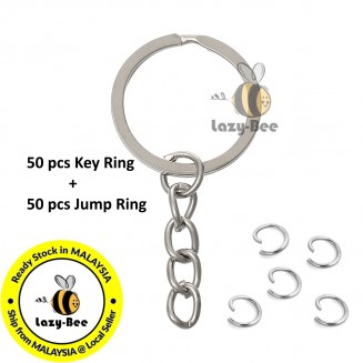 MC709: 25mm Key Chain Key Ring DIY 50 pcs + 50 pcs Opened Jump Rings Findings Round