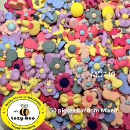 MC740: 50 pieces Random Mix Matte Resin Flatback DIY Cute Resin Kawaii Resin for Craft [ A19 ]
