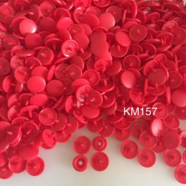KM157: DEEP RED B38: Matte T5 (12.4mm Diameter) KAM Snap Button Plastic Fastener DIY, 50 Sets [ L1 ]