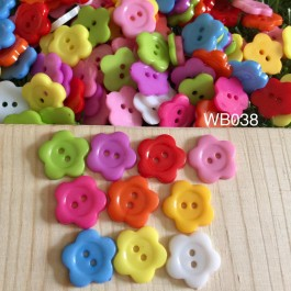 WB038: 50 pieces 16mm Cute Flower Resin Button Plastic Button DIY Kid Craft Handmade Sewing Buttons Children [B14]