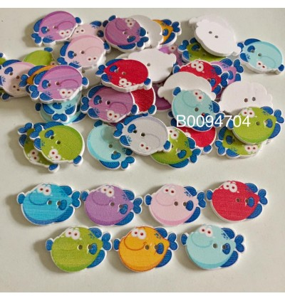 B0094704: 50 pieces 28x19mm Fish Wood Sewing Buttons Scrapbooking 2 Holes Fish Animal DIY Kid Craft [ A17 ]