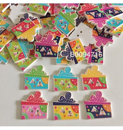 B0094716: 50 pieces 25x25mm Gift Box Triangle Wood Sewing Buttons Scrapbooking 2 Holes DIY Kid Craft [ B6 ]