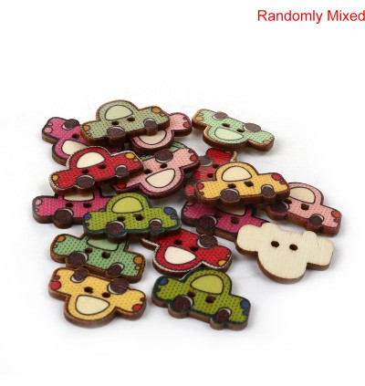 B0094718: Wood Buttons Car 25x17mm, 50 pieces [ C17 ]