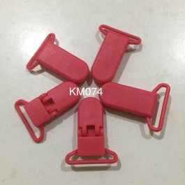 KM074: CORAL ROSE: Baby Pacifier Clip 30mm, 5 pieces/pack