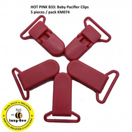 KM074: HOT PINK B33: Baby Pacifier Clip 30mm, 5 pieces