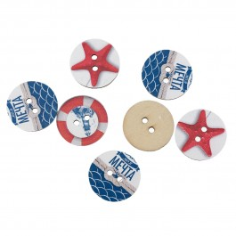 B54321: Ocean Jewelry Wood Buttons 24mm, 50 pieces [ B13 ]
