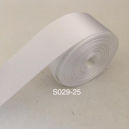 S029-25: WHITE: Double Faced Satin Ribbon 25mm, 5Meter/pack