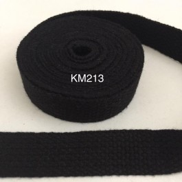 KM213: BLACK: 20MM Canvas Webbing 2 meter