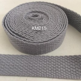 KM215: LIGHT SILVER: 20MM Canvas Webbing 2 meter