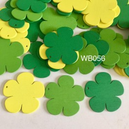 WB056: GREEN: Flower Wood Pendants, 39x41x2mm, 25 pieces [ A20 ]