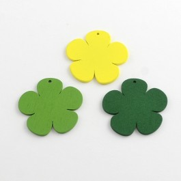 WB056: GREEN 25 pcs 39x41mm Flower Dyed Wood Pendants Embellishment Accessories DIY Personalize Key Chain Key Ring Charm