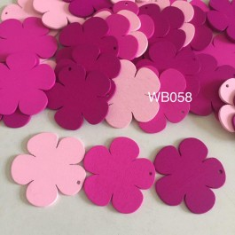 WB058: RED: Flower Wood Pendants, 39x41x2mm, 25 pieces [ A20 ]
