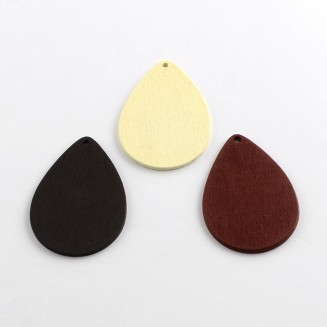 WB061: NATURAL: Drop Wood Pendants, 48x34x2mm, 25 pieces [ A20 ]